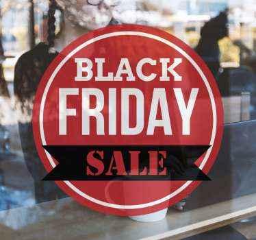 Rode cirkel black friday afkortingen raamsticker. Het ontwerp bevat tekstdetails voor black friday-verkoop in kleurrijke stijl en lettertype. Gemakkelijk aan te brengen en te kleven.