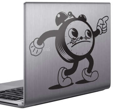 Laptop Stickers - Comic style clock character inspired by Alice in Wonderland. Great for customising your device.
