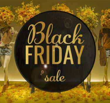 Elegant decorative design sticker for black Friday sales. The design background is created in black colour with gold text inscription.