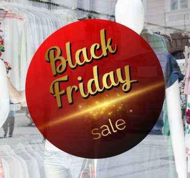 Ronde achtergrond black friday sticker voor zwarte vrijdagverkoop. Het ontwerp is gemaakt in een rode kleur met gouden schittering, de tekst luidt '' black friday sales '.