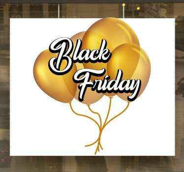 Decorative black Friday sticker with design created on a yellow inflated balloon surface. It text reads ''Black Friday'.
