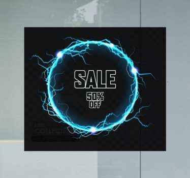 Sale 50% korting raamsticker voor zakelijke verkooppromotie voor zwarte vrijdag.. Het is gemakkelijk aan te brengen en zelfklevend.