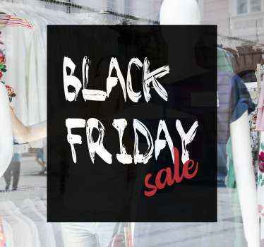 Black Friday sales sticker designed in graffiti style. The design is a black background depicting a writing board with a chalk texture inscription.