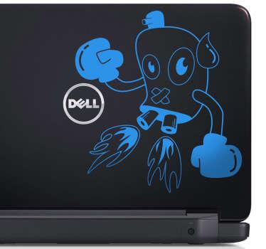 Laptop Aufkleber boxender Roboter