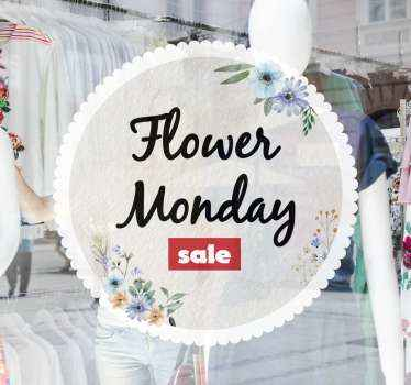 宇宙からのビジネスのための装飾的な花の月曜日の販売デカール。デザインは丸い背景で、花とセールステキストの詳細が特徴です。