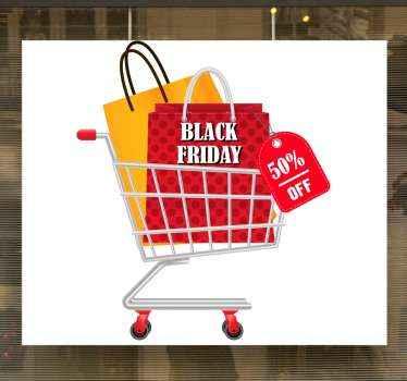 Pas uw black friday afkorting tsticker met ons aan in onze prachtig ontworpen zelfklevende sticker. Het ontwerp is een winkelwagentje met daarin boodschappentassen.
