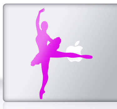 Ballerina silueta laptop autocolant