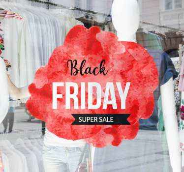 Original red background Black Friday super sale stickers collection to give your store the most beautiful look on the street.