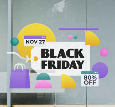 A collection of original and colorful Black Friday sales window stickers to make your store stand out from all the others.