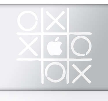 A decorative design of noughts & crosses to decorate your MacBook and make use of the Apple logo. A design from our Macbook stickers collection.