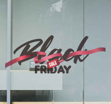 Black Friday sales text decal designed together with a red gift bow. Beautiful design to decorate a shop or business place promoting black Friday.