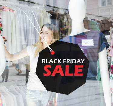 Decorative sales decal created on an octagonal shape background with text tag for black Friday sales awareness. Easy to apply and of high quality.