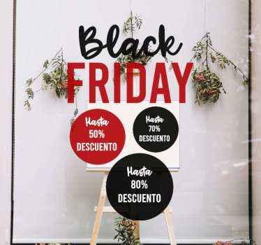 Pegatinas para escaparates de Black Friday con descuento personalizable. Dinos los descuentos que deseas y así se harán ¡Compra online!
