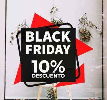 Vinilo Black Friday hecho de fondo múltiple con cuadrados y triángulos en rojo y negro. Personaliza el descuento ¡Compra online!