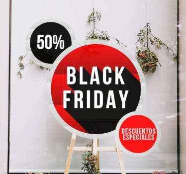 Vinilo Black Friday de descuentos especiales personalizables de fácil aplicación. Diseño de círculos rojos y negros de Black Friday ¡Personalízalo!