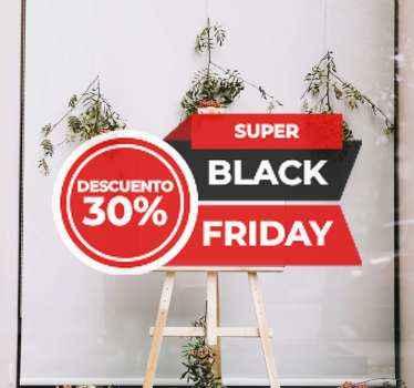 """Vinilo Black Friday con frase """"super Black Friday"""" con descuento personalizable y colores rojos y negros típicos del día ¡Elige tu tamaño!"""