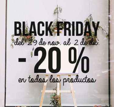 Vinilo para escaparates personalizado de ventas del Black Friday. Diseño con fecha y descuento personalizable ¡Elige color y tamaño!