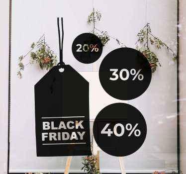 Coloque estos Black Friday vinilos con 3 descuentos personalizables. Diseño Black Friday con formato etiqueta de ropa y círculos ¡Elige el tamaño!