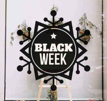 Decorative black Friday week sales decal for a shop space. The design depicts snow flakes on round background with black week text inscribed on it.