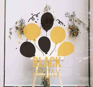 Exiba estes adesivos de balão coloridos incríveis para as vendas de sexta-feira negra na vitrine de sua empresa para promover as vendas. Original e fácil de aplicar.