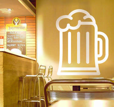 A monochrome sticker illustrating a foaming mug of beer! Brilliant outline decal to decorate the walls of your pub, bar or kitchen. Whether you are a fan of alcoholic beverage or not this creative design will give your kitchen a unique appearance.