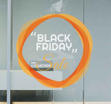 Lovely black Friday sticker to stick on the front space of a business place. The design is made on a circle orange background with text.