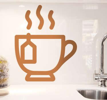 Muursticker simplistische kop thee
