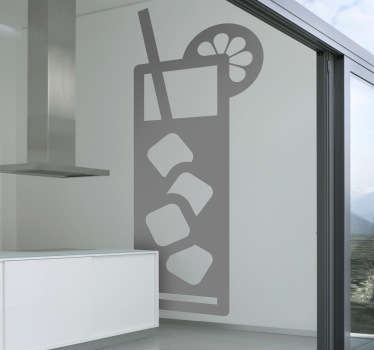 A refreshing drinks wall sticker illustrating a cooling drink with ice! This monochrome wall sticker is perfect for decorating your own bar, cafe or home. Attract more customers with this superb design!