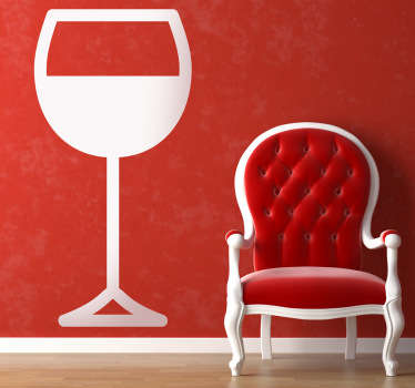 Muursticker glas wijn