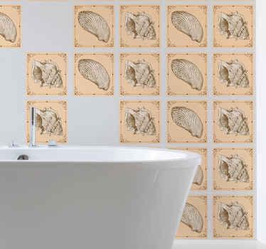 家の壁のスペースを飾るための装飾的な貝殻のウォールステッカー。この防水貝殻タイルデカールは、バスルーム、キッチンなどに適しています。