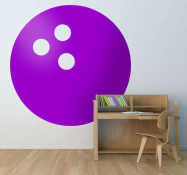 A simple decal of a bowling ball with three holes. Designed by Brigada Creativa, for fans of this fun sport.