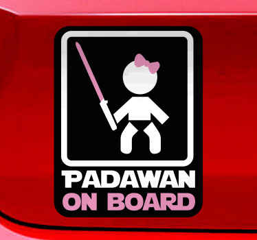 Beautiful car sticker of Padawan on board from our collection of child on board vehicle stickers. It is easy to apply and of high quality.