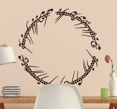 Cinema themed wall sticker of the Elvish text that appears on the Lord of the Rings saga. Ideal wall sticker for any room.