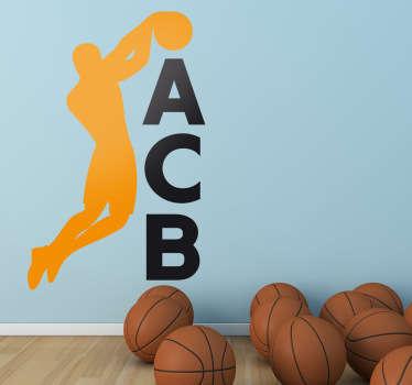 Adhesivo del logotipo de la liga nacional de baloncesto, para los seguidores del básket español.