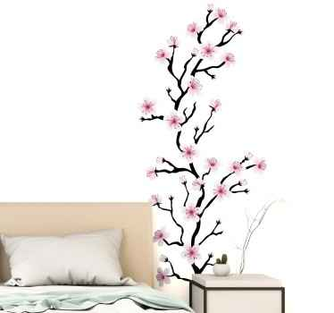 Decorative Japanese cherry blossom flower wall sticker for bedroom headboard decoration. A design that would make you smile anytime you look at it.