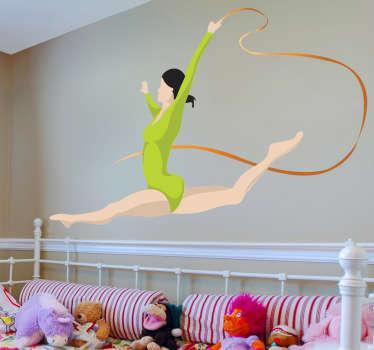 Naklejka dekoracyjna gimnastyczka ze wstążką
