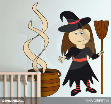 A decorative decal of a friendly witch designed by Fina Gilbert! A superb wall decoration for the Halloween season. Available in 50 colours.