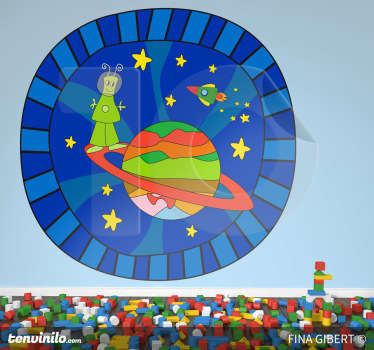 Kids Wall Stickers - Original illustration with an imaginative space theme. An alien on a planet surrounded by a space ship and stars.