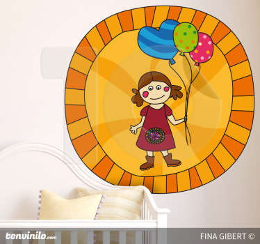 Sticker designed by Fina Gibert in which a girl with three balloons appears.