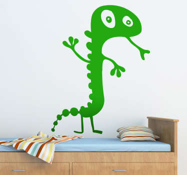 A playful illustration of a gecko standing and sticking out its tongue. A decorative design from our collection of gecko wall art stickers.