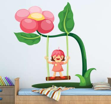 Vinilo infantil columpio de flor