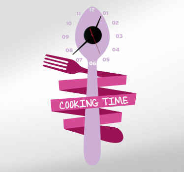 What an amazing kitchen wall sticker decoration to illustrates the time for your cooking hours and time. Available in any size required.