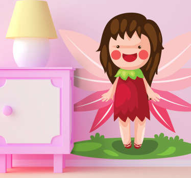 A kids sticker illustrating a very happy girl smiling with pink wings. A decal full of magic to decorate your child's room.