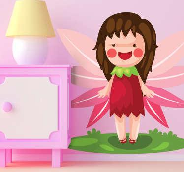 Adesivo bambini fata con ali rosa