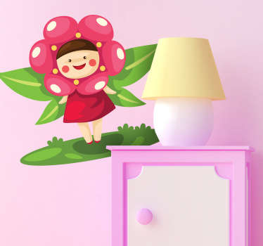 Sticker enfant fée nature et fleurs