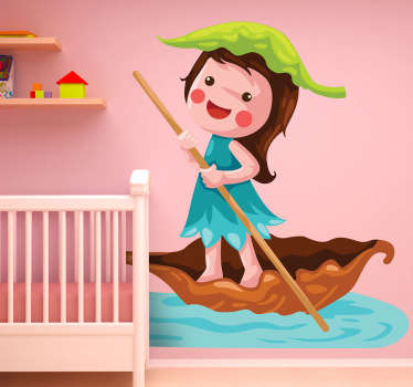 A kids sticker illustrating a girl sailing in a small boat made of a dry leaf.