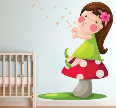 A wonderful fairy tale wall sticker illustrating a little girl blowing the dandelions away after having made a wish! A sweet design of this girl sitting down on a mushroom and enjoying her free time. This kids decal is perfect for decorating a little girl's bedroom or nursery.