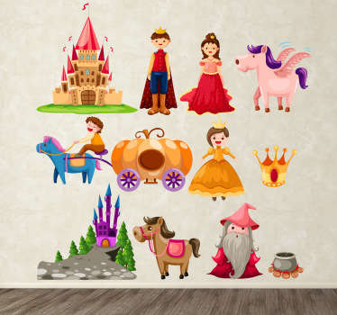 A set of story tale stickers for kids! Different characters with magical animals and places such as the castles!