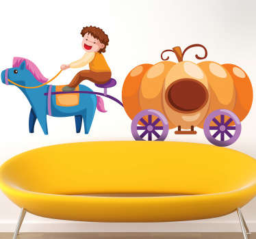 A fun decal of a pumpkin carriage which is perfect for every little girl! it may not be Cinderella's carriage but this one will do the trick!