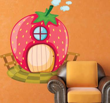 Sticker enfant maison en fraise